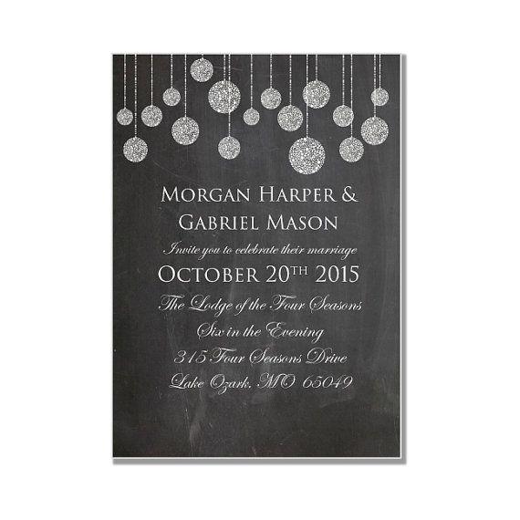 Chalkboard Wedding Invitation  String Lights by ClearyLaneWeddings