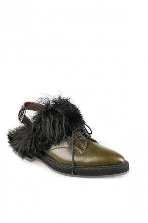 Остроносые ботинки со шнуровкой и мехом