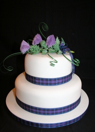 Two Tier Scottish Thistle Wedding Cakes