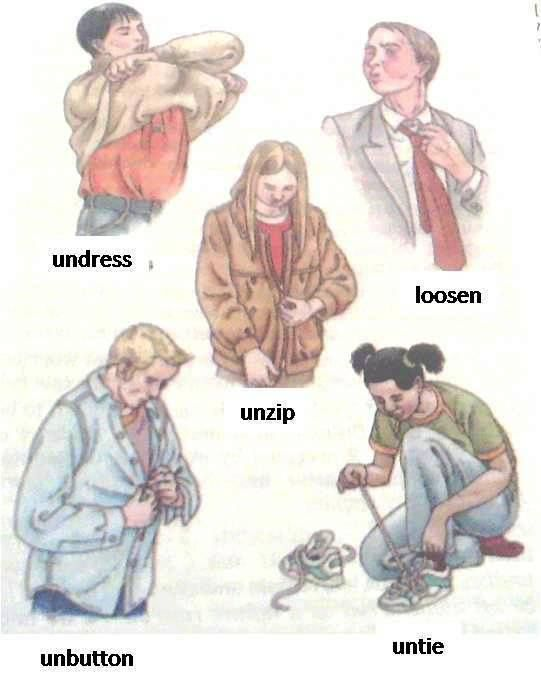English vocabulary - Verbs for getting dressed/undressed