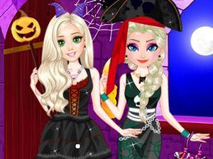Frozen Elsa e Anna no Halloween: O Halloween está chegando e nossas princesas estão procurando ter as roupas mais assustadoras. Você está pronto para esse novo desafio? Você gosta de festa de Halloween? Então, comece agora a vestir Anna e Elsa. Boa sorte!