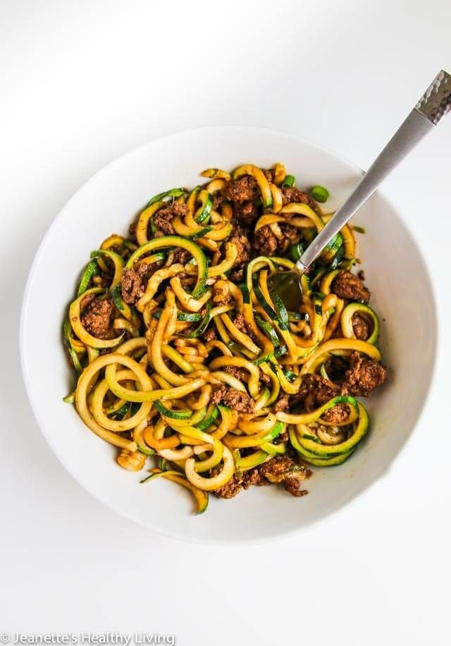 Chinese Five Spice Ground Turkey Zucchini Noodles - this is a low carb version of a popular Chinese noodle dish. Delicious and very satisfying! ~ http://jeanetteshealthyliving.com