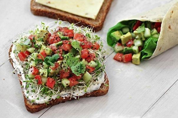 California Sandwich- tomato, avocado, cucumber, sprouts & hummus.