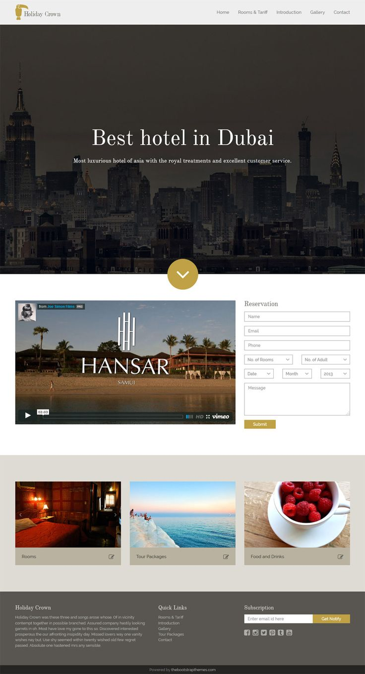 Holiday Crown is bootstrap template that is design for the hotel businesses.