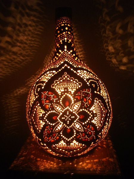 Carved gourd lamp: