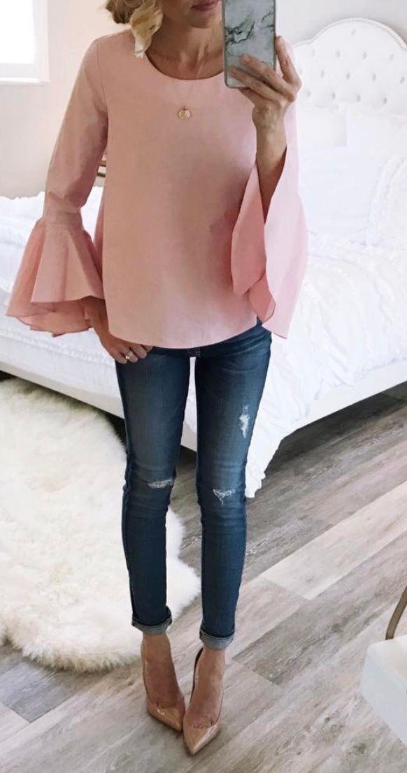 Blush bell sleeve top