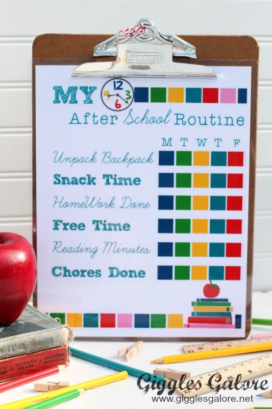 My After School Routine Chart by Giggles Galore