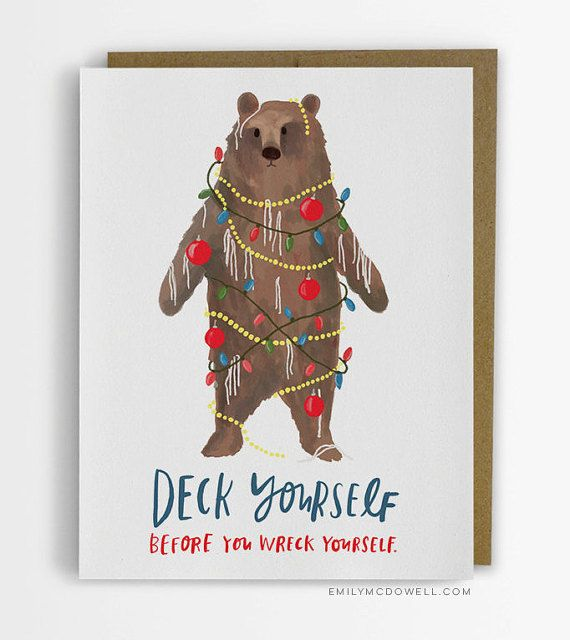 Are you ready to get into the holiday spirit? Get your festive on (carefully!) with this bear.  - Blank inside - A2 size (4.25 x 5.5) -