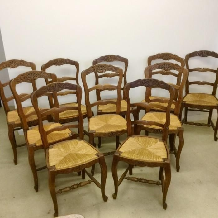 SET OF 10 FRENCH OAK AND RUSH SEAT CHAIRS | Looking For Antiques - 68 Best Looking For Antiques Chairs Images On Pinterest Antique