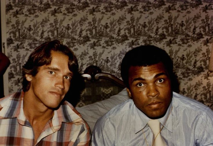 Arnold Schwarzenegger and Muhammad Ali. #Boxe #Boxing #Cinema #Movie #Actor #Sport #Legends #Terminator