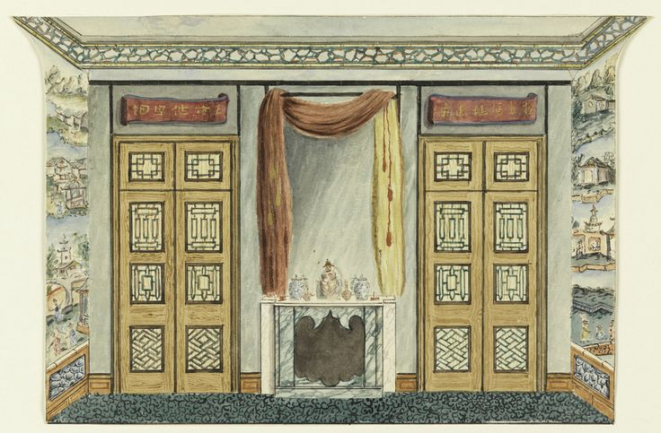 Interior with Chinese Wallpaper, 1802 or Earlier. Horizontal rectangle. Design for the Royal Pavilion, Brighton. The wall facing the spectator has a central mantelpiece of green and white marble surmounted by a tall mirror, which is framed by a drapery hung over a rod. To left and right are doorways over which are painted scrolls bearing Chinese characters.