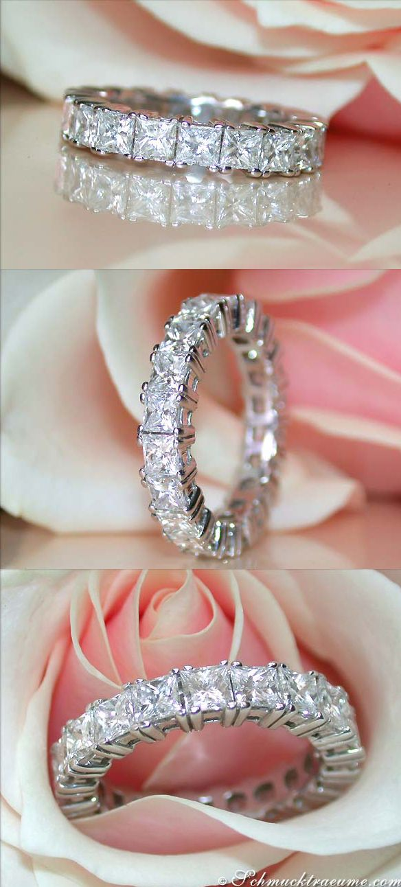 Magnificent: Diamond Eternity Ring, WG-18K --- 20 Diamonds, Princess Cut, 4,33 cts. G-VS/VS1 --- Price at the jeweller's: 16.000,00€ - Our price: 12.282,00€ --- Find out: schmucktraeume.com -- Visit us on FB: https://www.facebook.com/pages/Noble-Juwelen/150871984924926 -- Any questions? Contact us: info@schmucktraeume.com -- We also ship from the US.