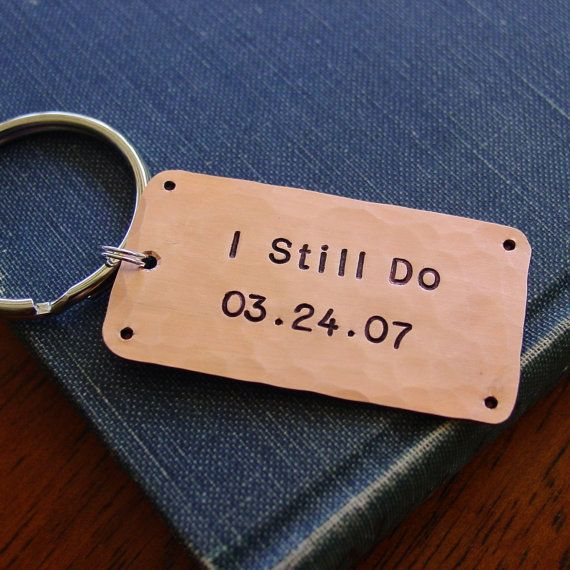 Anniversary Gift, I Still Do Keychain, Personalized Wedding Date, Copper Gift, Seventh Anniversary Gift,  7 Year Anniversary Gift, Hand Stamped by PearlieGirl