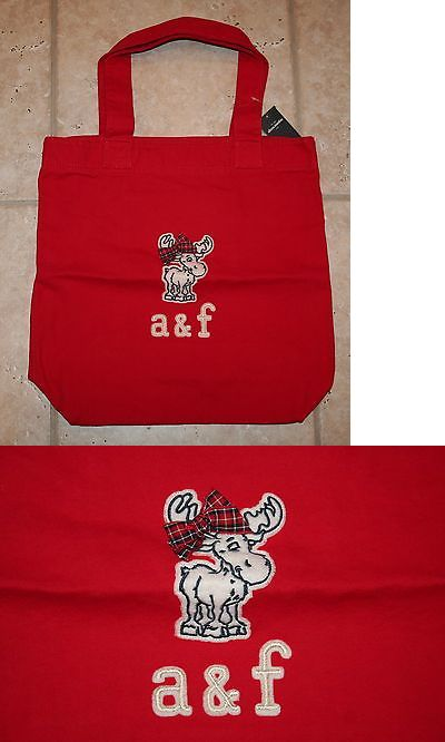 Purses and Wallets 15629: Nwt Abercrombie Girls Red Felt Moose Tote Book Bag -> BUY IT NOW ONLY: $34.5 on eBay!