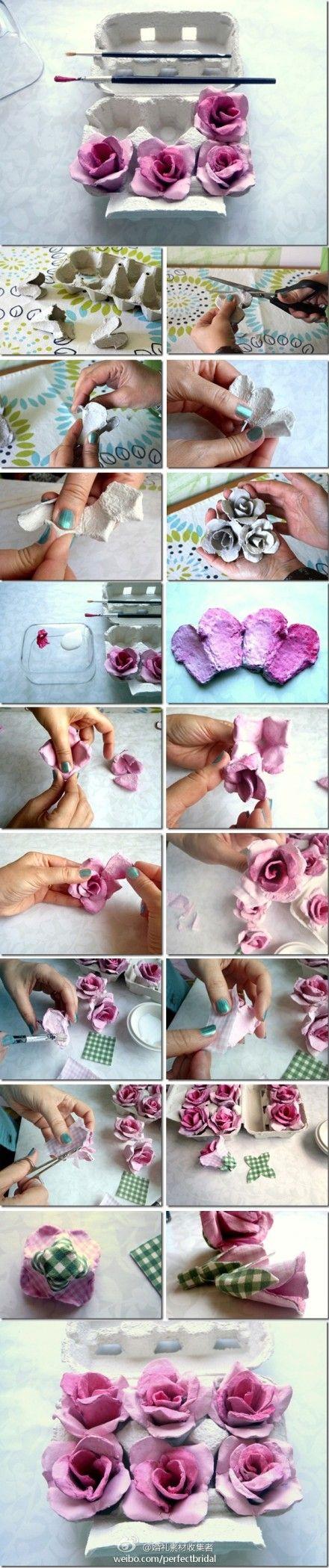 egg box DIY roses