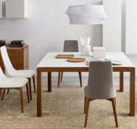 Détails Table repas extensible SIGMA GLASS 140x140 de CALLIGARIS en verre blanc piétement bois
