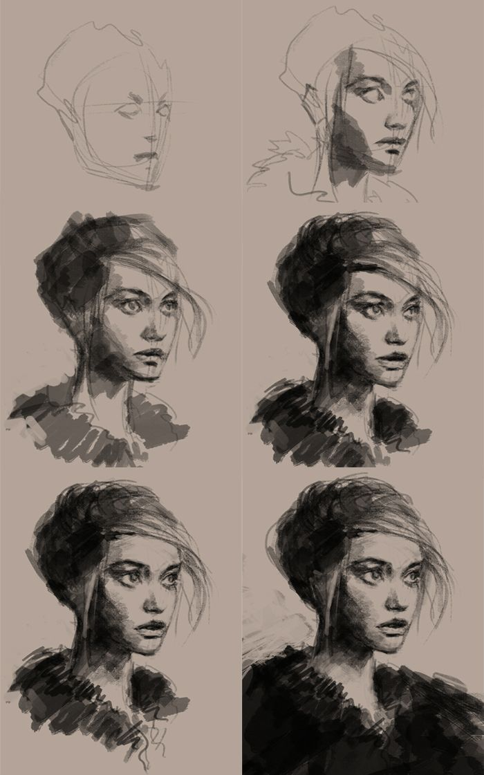 Different phases in the creation of a portrait with charcoal.