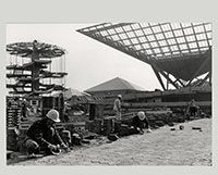 Landscaping underway near the Canadian Pavilion at #Expo67., November 1966- Chris Lund  Canadian, 1923 - 1983  B&W Negative Canadian Museum of Contemporary Photography (no. 66-13184) || Aménagement paysager près du pavillon du Canada au chantier d'Expo 67 à Montréal., Novembre 1966- Chris Lund  Canada, 1923 - 1983  négative noir et blanc Musée canadien de la photographie contemporaine (nº 66-13184)  #photography #architecture #photos