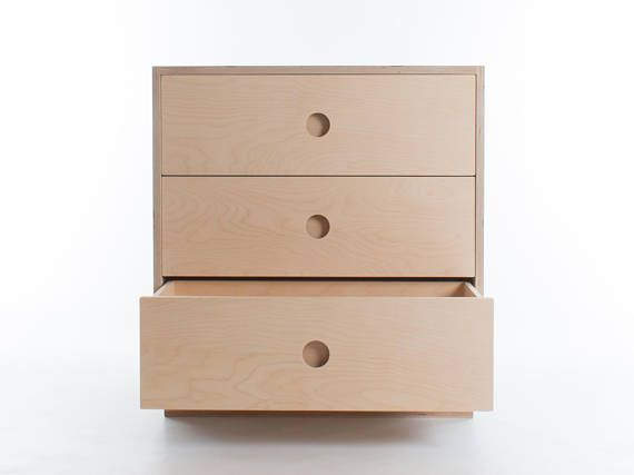 Short Chest Of Drawers 3 Birch Plywood Solid Wood Etsy Birch