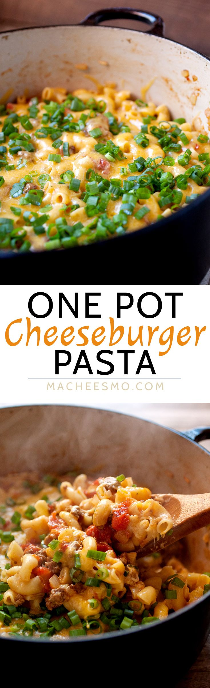 One Pot Cheeseburger Pasta: Everything cooked in one pot: beef, onions, and pasta! Some say it's impossible, but this is the way to make it happen! Plus, a nice little lid of cheddar cheese on top finishes off this pasta dish and makes it very worth your while. DIG IN. | macheesmo.com