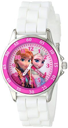 This Frozen character watch features a round face featuring Frozen characters on dial and labeled with the minute and hour hands to help children learn how to tell time.
