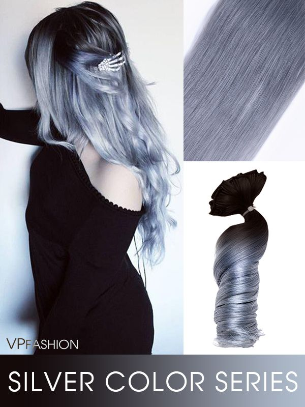 NEW ARRIVAL- silver blue ombre colorful clip in extensions cs052