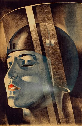 A Poster for Fritz Lang's 1927 film Metropolis. The poster shows the Metropolis character Maria in scientist Rotwang's transformation machine.