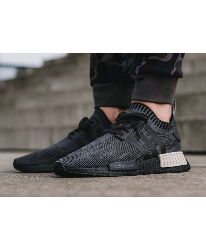 pretty nice 5ad78 c285f Adidas NMD R1 Primeknit STLT Black Trainers Cheap UK