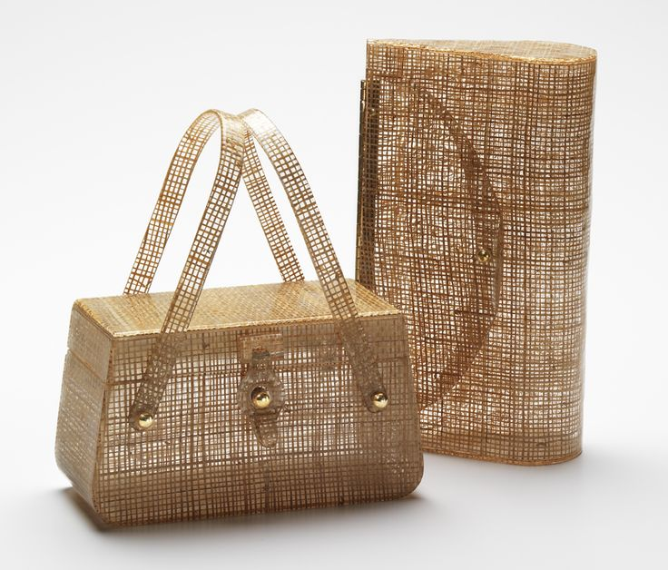 Basket-weave fabric was a favorite Lucite Lux® laminate. The bag on the left is by Charles Foster, the clutch on the right is from Wilardy.
