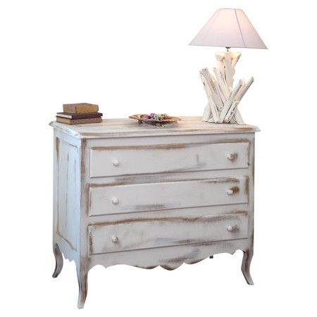 £370.95 Made to order in Italy, this white-painted chest features a weathered finish, three drawers and a French-inspired design.