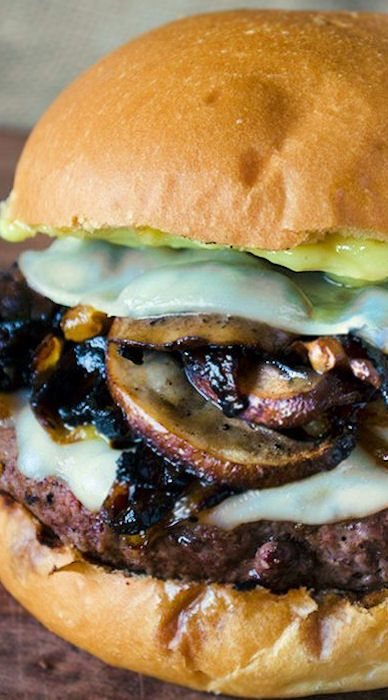 This Mushroom Burger with Provolone, Caramelized Onions and Aioli would be perfect on a Martin's Potato Roll!