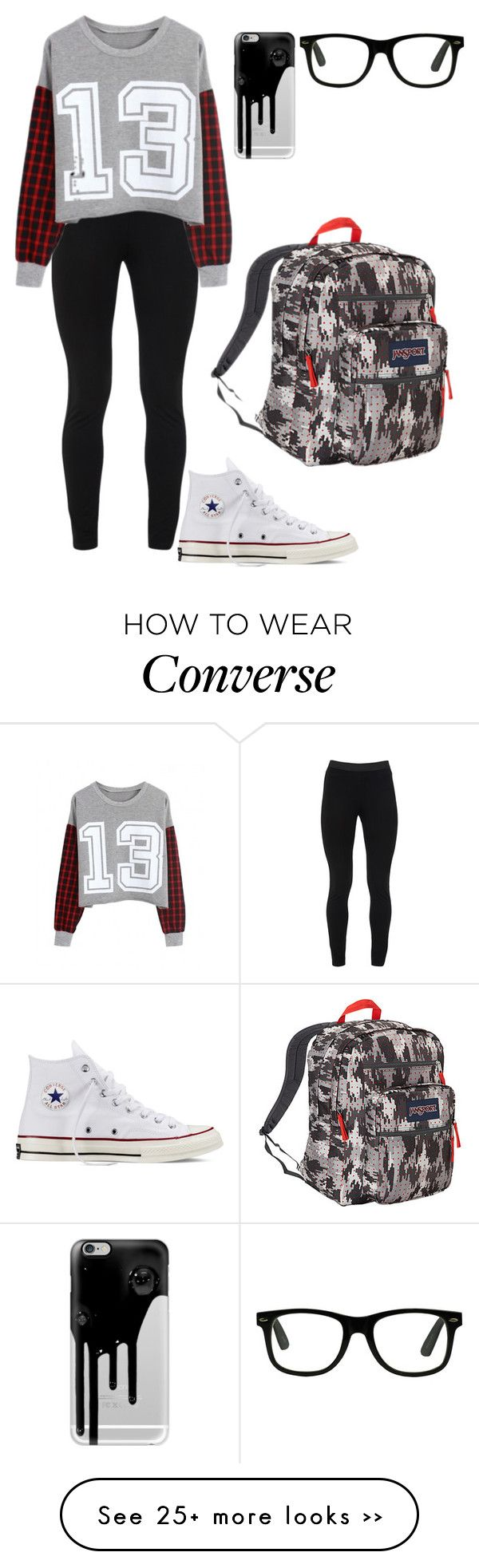 """Untitled #398"" by meowliv on Polyvore featuring Peace of Cloth, Converse, JanSport and Casetify"
