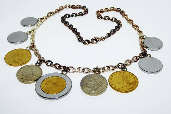 New Listings Daily - Follow Us for UpDates -  Description & Style:  Italian Coins & Sterling Silver Chain Necklace - Repvbblica Italiana - Authentic Lira Coins - Signed Milor 925 Italy - #Vintage 1990s Coin Charms offer... #vintage #jewelry #teamlove #etsyretwt #thejewelseeker ➡️ http://etsy.me/2wOCVq2