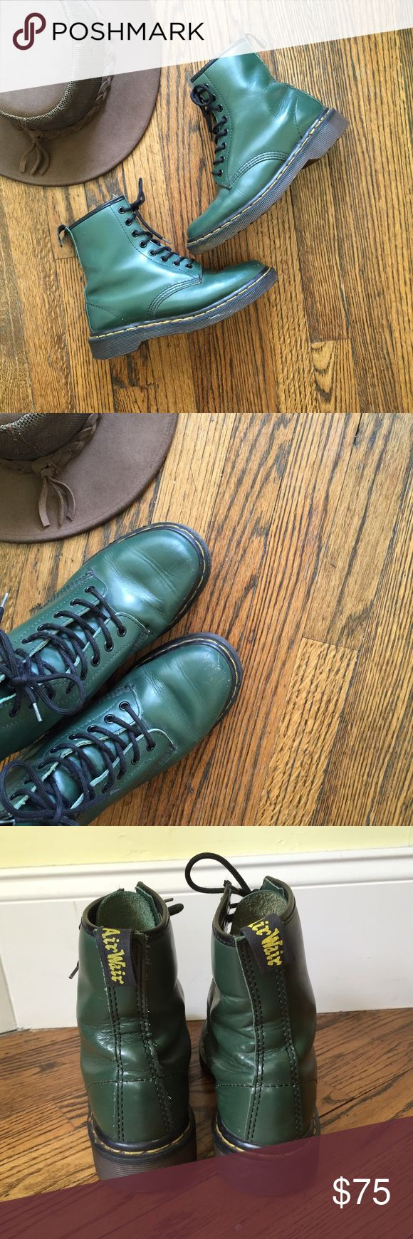 Made in England Dr Martens These boots are so amazing. A must have this fall/winter. The original all leather 1460 Dr Martens boots in smooth green. Size 5. In good condition. Made in England. Dr. Martens Shoes