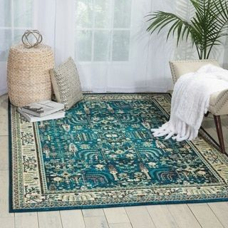 Nourison Aria Teal Area Rug (5'3 x 7'3) - Free Shipping Today - Overstock.com - 20444332 - Mobile