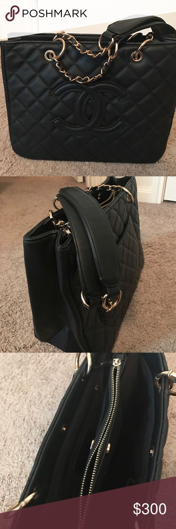 Chanel purse Black purse/handbag with gold color hardware. Very sturdy with Chanel like logo. Price negotiable through Buy Now button. Not a u t e n t i c. Bags Shoulder Bags