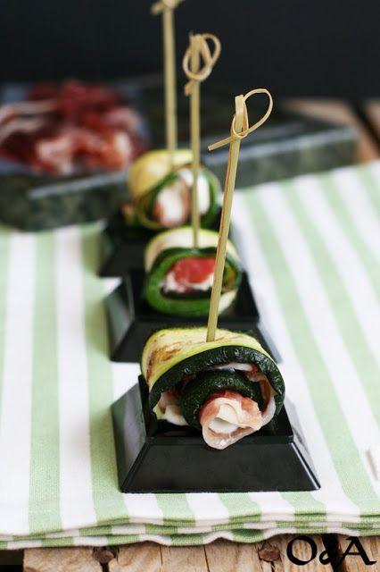 Olio e Aceto: Involtini di zucchina con crudo e mousse di ricotta