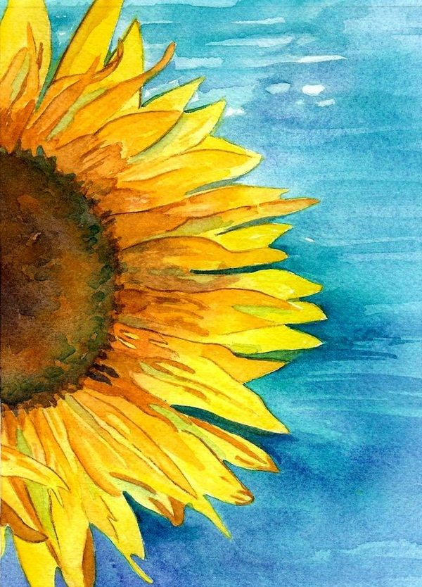 Cool sunflower painting. Beginner painting idea. 40 Simple Watercolor Painting Ideas