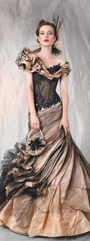 Cherie Sposa - black and brown wedding gown