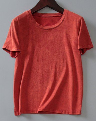 Brief Round Collar Bleach Wash Solid Color Short Sleeve T-Shirt For Women