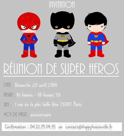 """Free Printable : la carte d'anniversaire """" Réunion de Super Héros """" !"""