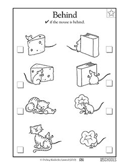 Is the mouse in front or behind? In this coloring math worksheet, your child will identify whether or not a mouse is behind other objects.