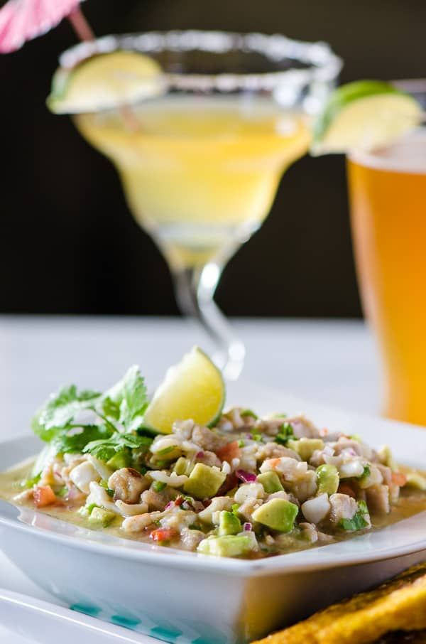 Margarita Ceviche A Spanish Tapas Dish Almost As Good As The Cocktails Chopped Calamari Ahi Tuna Scallops And Shrimp Combined With Fre Calamari Ceviche Recipe Ceviche Ceviche Recipe