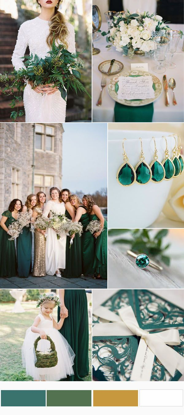 Greenery Emerald And Gold Wedding Color Combinations For Outdoor Weddings