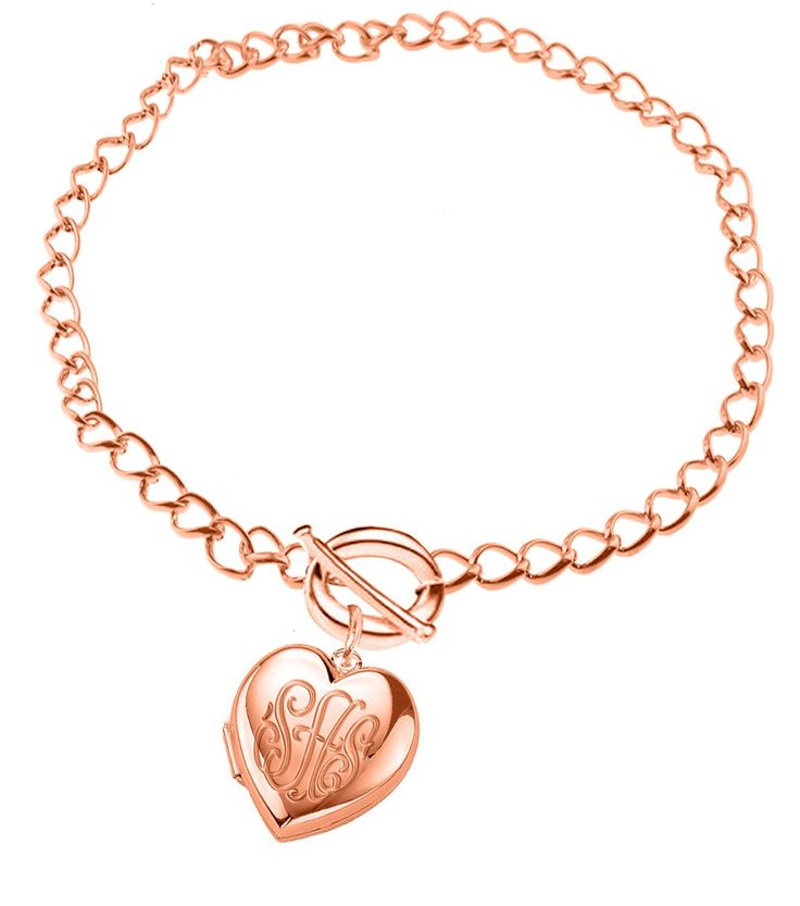 "Personalized Monogrammed Locket Bracelet (Order Any Initials) (7 Inches, 24k Rose Gold Overlay). Order initials for you and for your loved ones. Send us your desired initials using ""Gift Note"" section at the time of checkout. Or email all information with order#. Allow 15-20 days for production."