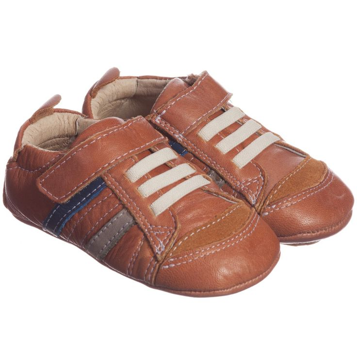 Old Soles - Boys Brown Leather Pre-Walker Trainers | Childrensalon