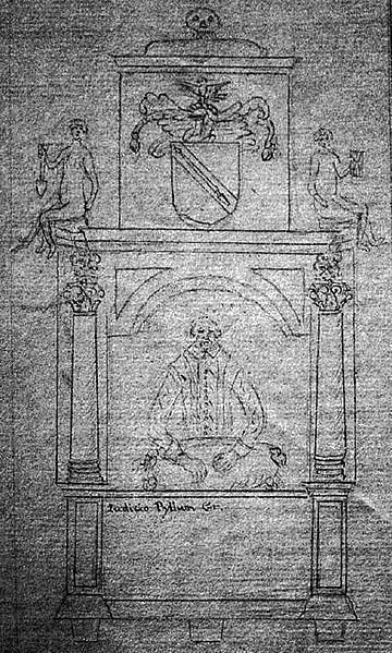 Dugdale's 1636 sketch of the Stratford Monument. George Vertue, about 100 years later saw two monuments in and beside Holy Trinity Church.