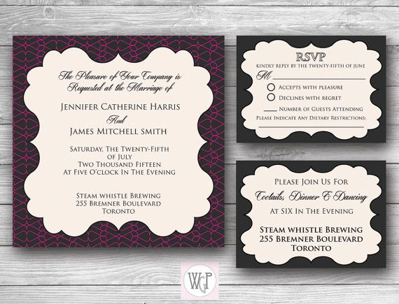 Zoe Wedding Invitation Set  Digital Download by WeddingGlitzPrints