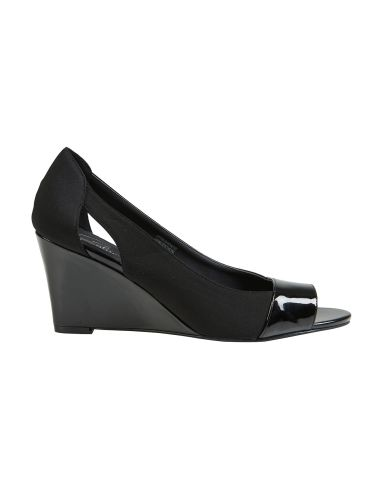 Dress your feet with these black spliced patent wedge shoes with a peep toe.