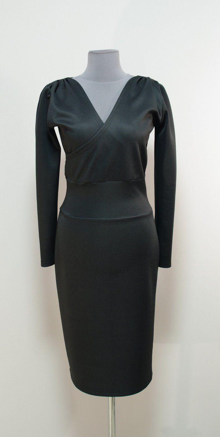 Темно-серое платье-карандаш с декольте на запах | Платье-терапия от Юлии